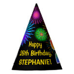 "[ Thumbnail: Fun Fireworks + Rainbow Pattern ""26"" Birthday # Party Hat ]"