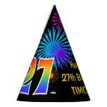 "[ Thumbnail: Fun Fireworks + Rainbow Pattern ""27"" Birthday # Party Hat ]"