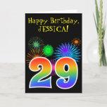 "[ Thumbnail: Fun Fireworks + Rainbow Pattern ""29"" Birthday # Card ]"