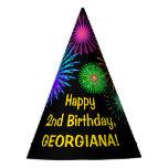 "[ Thumbnail: Fun Fireworks + Rainbow Pattern ""2"" Birthday # Party Hat ]"