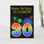 "[ Thumbnail: Fun Fireworks + Rainbow Pattern ""30"" Birthday # Card ]"