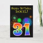 "[ Thumbnail: Fun Fireworks + Rainbow Pattern ""31"" Birthday # Card ]"