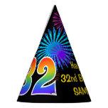 "[ Thumbnail: Fun Fireworks + Rainbow Pattern ""32"" Birthday # Party Hat ]"