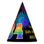 "[ Thumbnail: Fun Fireworks + Rainbow Pattern ""34"" Birthday # Party Hat ]"