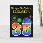 "[ Thumbnail: Fun Fireworks + Rainbow Pattern ""35"" Birthday # Card ]"