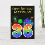 "[ Thumbnail: Fun Fireworks + Rainbow Pattern ""36"" Birthday # Card ]"