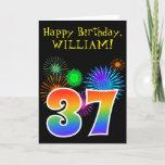 "[ Thumbnail: Fun Fireworks + Rainbow Pattern ""37"" Birthday # Card ]"