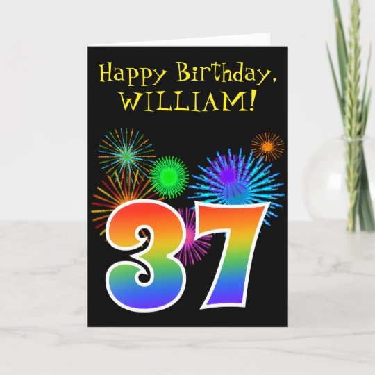 Fun Fireworks Rainbow Pattern 37 Birthday Card