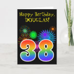 "[ Thumbnail: Fun Fireworks + Rainbow Pattern ""38"" Birthday # Card ]"
