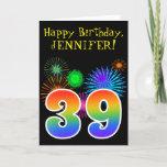 "[ Thumbnail: Fun Fireworks + Rainbow Pattern ""39"" Birthday # Card ]"