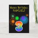 "[ Thumbnail: Fun Fireworks + Rainbow Pattern ""3"" Birthday # Card ]"