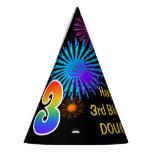 "[ Thumbnail: Fun Fireworks + Rainbow Pattern ""3"" Birthday # Party Hat ]"