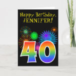 "[ Thumbnail: Fun Fireworks + Rainbow Pattern ""40"" Birthday # Card ]"