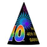 "[ Thumbnail: Fun Fireworks + Rainbow Pattern ""40"" Birthday # Party Hat ]"