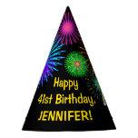 "[ Thumbnail: Fun Fireworks + Rainbow Pattern ""41"" Birthday # Party Hat ]"
