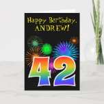 "[ Thumbnail: Fun Fireworks + Rainbow Pattern ""42"" Birthday # Card ]"