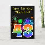 "[ Thumbnail: Fun Fireworks + Rainbow Pattern ""43"" Birthday # Card ]"