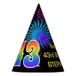 "[ Thumbnail: Fun Fireworks + Rainbow Pattern ""43"" Birthday # Party Hat ]"