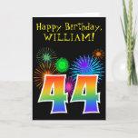 "[ Thumbnail: Fun Fireworks + Rainbow Pattern ""44"" Birthday # Card ]"
