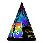 "[ Thumbnail: Fun Fireworks + Rainbow Pattern ""45"" Birthday # Party Hat ]"