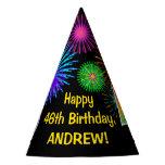 "[ Thumbnail: Fun Fireworks + Rainbow Pattern ""46"" Birthday # Party Hat ]"