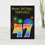 "[ Thumbnail: Fun Fireworks + Rainbow Pattern ""47"" Birthday # Card ]"