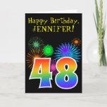 "[ Thumbnail: Fun Fireworks + Rainbow Pattern ""48"" Birthday # Card ]"
