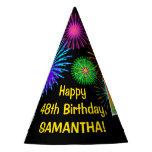 "[ Thumbnail: Fun Fireworks + Rainbow Pattern ""48"" Birthday # Party Hat ]"