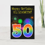 "[ Thumbnail: Fun Fireworks + Rainbow Pattern ""50"" Birthday # Card ]"