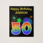 """Fun Fireworks   Rainbow Pattern &quot;50&quot; Birthday # Jigsaw Puzzle<br><div class=""""desc"""">This fun, vibrant puzzle design features a colorful celebratory fireworks inspired pattern, along with the number &quot;50&quot; having a multicolored rainbow inspired gradient pattern, on a black colored background. It also features a personalized name and event message, such as a birthday greeting. A puzzle like this might be a fun...</div>"""