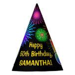 "[ Thumbnail: Fun Fireworks + Rainbow Pattern ""50"" Birthday # Party Hat ]"