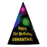 "[ Thumbnail: Fun Fireworks + Rainbow Pattern ""51"" Birthday # Party Hat ]"