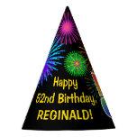 "[ Thumbnail: Fun Fireworks + Rainbow Pattern ""52"" Birthday # Party Hat ]"