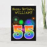 "[ Thumbnail: Fun Fireworks + Rainbow Pattern ""55"" Birthday # Card ]"