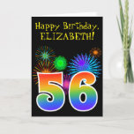"[ Thumbnail: Fun Fireworks + Rainbow Pattern ""56"" Birthday # Card ]"