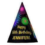 "[ Thumbnail: Fun Fireworks + Rainbow Pattern ""56"" Birthday # Party Hat ]"