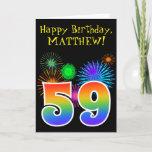 "[ Thumbnail: Fun Fireworks + Rainbow Pattern ""59"" Birthday # Card ]"