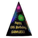 "[ Thumbnail: Fun Fireworks + Rainbow Pattern ""59"" Birthday # Party Hat ]"