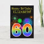"[ Thumbnail: Fun Fireworks + Rainbow Pattern ""60"" Birthday # Card ]"