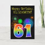 "[ Thumbnail: Fun Fireworks + Rainbow Pattern ""61"" Birthday # Card ]"