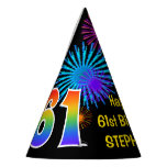"[ Thumbnail: Fun Fireworks + Rainbow Pattern ""61"" Birthday # Party Hat ]"