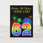 "[ Thumbnail: Fun Fireworks + Rainbow Pattern ""62"" Birthday # Card ]"