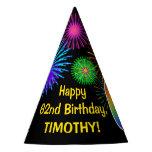 "[ Thumbnail: Fun Fireworks + Rainbow Pattern ""62"" Birthday # Party Hat ]"