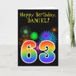 "[ Thumbnail: Fun Fireworks + Rainbow Pattern ""63"" Birthday # Card ]"