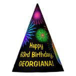 "[ Thumbnail: Fun Fireworks + Rainbow Pattern ""63"" Birthday # Party Hat ]"