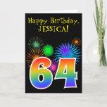 "[ Thumbnail: Fun Fireworks + Rainbow Pattern ""64"" Birthday # Card ]"