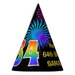 "[ Thumbnail: Fun Fireworks + Rainbow Pattern ""64"" Birthday # Party Hat ]"