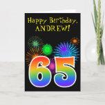 "[ Thumbnail: Fun Fireworks + Rainbow Pattern ""65"" Birthday # Card ]"