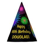 "[ Thumbnail: Fun Fireworks + Rainbow Pattern ""66"" Birthday # Party Hat ]"