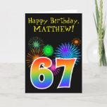 "[ Thumbnail: Fun Fireworks + Rainbow Pattern ""67"" Birthday # Card ]"